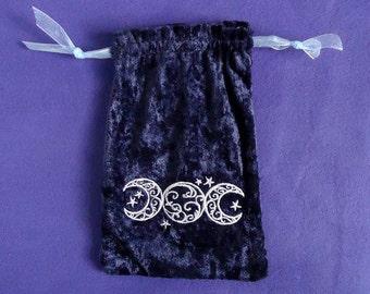Triple Moon Tarot Bag - Byzantium Purple Crushed Velvet