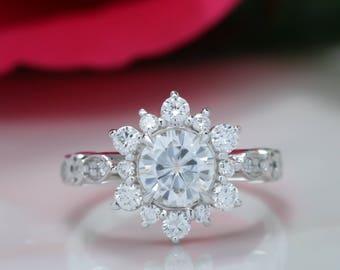 Toujours une Moissanite bague de fiançailles diamant Halo flocon de neige Style Vintage