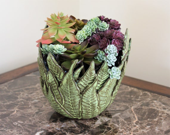 Succulent Planter - Cactus Planter - Ceramic Planter - Centerpiece - Candle Holder - Mother's Day - Pottery - Fern Pottery - Leaf Pottery