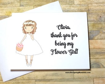 Thank You for being my Flower Girl Personalized Wedding Card - Wedding Thank You Card - Bridal Party Thank you - Flower Girl Thank You DM236