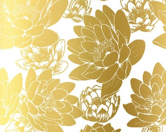 Flowers Pattern Gold Foil Print- Real Gold Foil, Fashion Poster, Flower Art, Home Decor, Fashion Print, Wall Art, Gold Foil Flowers