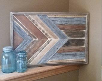 Reclaimed Wood Wall Art, arrow Barnwood, Chevron Pattern