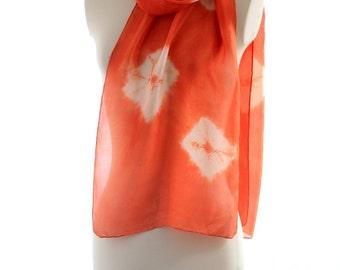 orange red scarf, silk shibori scarf naturally dyed, light long silk scarf hand dyed, light silk shawl tie dyed, eco dyed silk scarf gift