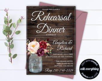 Rustic Wedding Rehearsal Dinner Invitation Template - Wedding Rehearsal Invitation - Wedding Rehearsal Invite - Printable Rehearsal Template