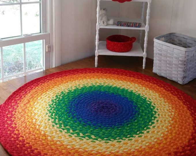 """48""""  Rainbow Rug made from braided recycled t shirt"""