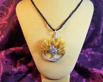 Handmade Yellow Faery Tree of Life Pendant Necklace