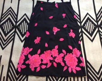 Vintage floral 16W skirt boho artsy size large