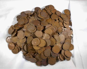 wheat pennies lot, bulk pennies, 40's and 50's wheat pennies, pennies by the pound