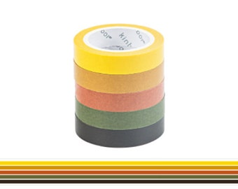 Set of 5 Washi Tape, Autumn Hues Washi Tape, Scrap booking, Schedule Washi, Bullet Journal, Planner, Minimalistic, Neutral, Brown, Yellow