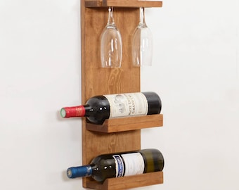 Woodymood Decorative Wine Rack Glass Holder-Natural, Wall mounted or available on desk, Wood Rustic Wine Storage Handmade