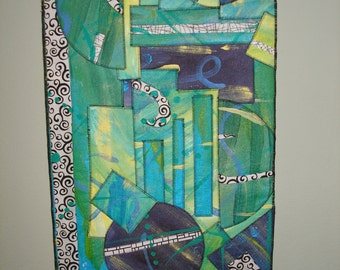 Thunderstorm in Redlands, Art, Art Quilt, Wall Hanging, Collage, Acrylics, Hand-Painted, Quilt, Abstract, Painted Canvas, Modern