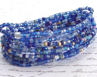 3 Stretch Sapphire Blue Wrap Bracelet, sapphire stretch bracelet, stacking bracelet, long, anklet, necklace, silver, beaded