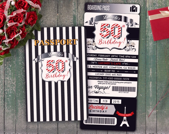 PASSPORT and TICKET birthday invitation! Girl birthday party invitation- travel birthday party invitation- Paris, 40th, surprise,50th
