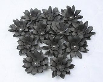Black / Charcoal Handmade Paper Flowers