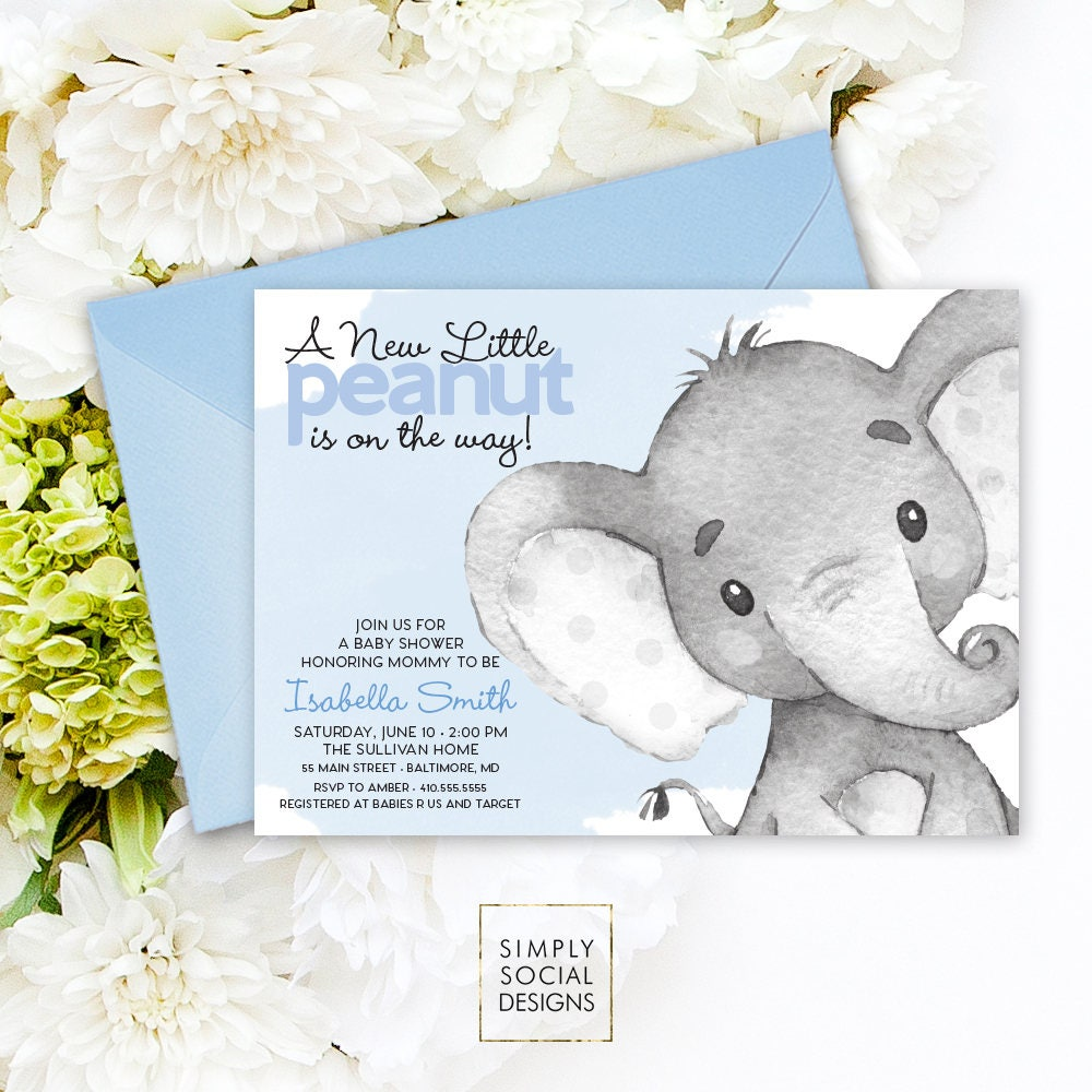 Blue Elephant Baby Shower Invitation Its a Boy Watercolor