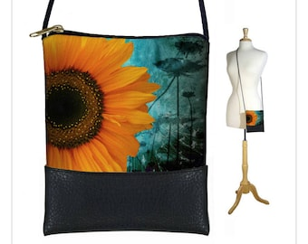 Small Cross Body Bag, Shoulder Bag Purse, Mini Crossbody Bag fits iPhone 6 Plus Case, Rustic Sunflower Floral, blue, yellow, black  RTS