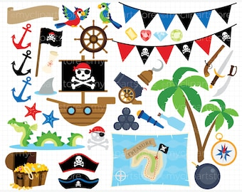 Pirate Objects Clipart - treasure chest, pirate boat, map, vector graphics, digital clip art, digital images, commercial use clipart