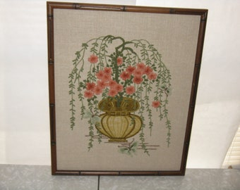 Vintage crewel embroidery picture flowers vines framed