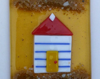 Beach huts, fused glass art picture