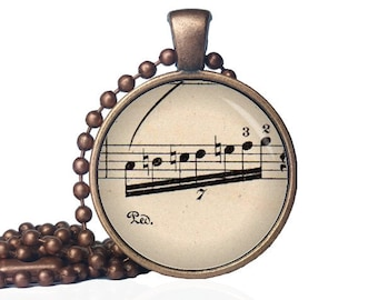 Sheet Music Necklace - Sheet Music Jewelry - Musical Notes Necklace - Musician Gift - Music Necklace - Gift for Musician - Band Necklace