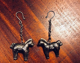 Tibet silver handmade luck horse earrings