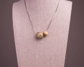 Ceramic and Wood Beaded Necklace// Simple Necklace// Stoneware Ceramics//