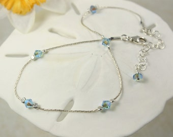 Blue Anklet Sterling Silver, Swarovski Crystal Anklet, Adjustable, Something Blue, Bridal Anklet,