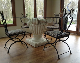 Vintage Glass Top Urn Table and Chairs, Dining Set, Metal Lyre Folding Swan Chairs, Italian Regency