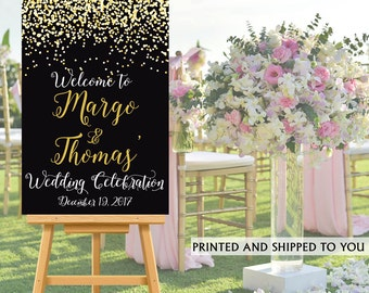 Wedding Welcome Sign - Gold Sparkle Bride and Groom Sign- Reception Sign Printed Wedding Ceremony Sign, Welcome to our Wedding Sign