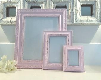 Pink picture frames, shabby chic frames, nursery decor, frame set, table frames, ornate frames, distressed frames, girls room decor
