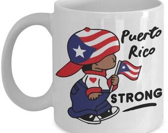 Puerto Rico Strong Coffee Mug Taza de café fuerte de Puerto Rico Gift Mug Island Flag Hat Puertorriqueños Boricuas