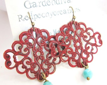 Red Boho Earrings, Patina Earrings, Filigree Dangle, Patina Jewelry, Moroccan Earrings, Bohemian Style, Redpeonycreations