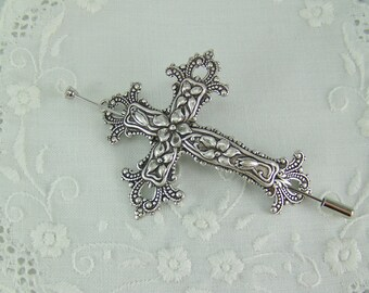 Cross Scarf Pin, Shawl Pin, Flower Cross, Cross Pin, Ornate Cross Pin, Crucifix Pin, Crucifix Scarf Pin, Spring Flower Cross, Religious Pin