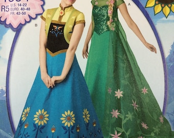 Simplicity 1094 Frozen Costume Sewing Pattern Elsa Anna Womens Sizes 14-16-18-20-22 Gown Dress