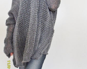 Oversize Women cotton  chunky knit sweater Bulky/slouchy/loose sweater. Oversized knit sweater. .