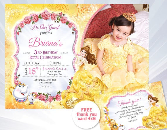 Princess belle birthday invitation beauty and the beast princess belle birthday invitation beauty and the beast princess belle birthday party invitation beauty and the beast filmwisefo Images