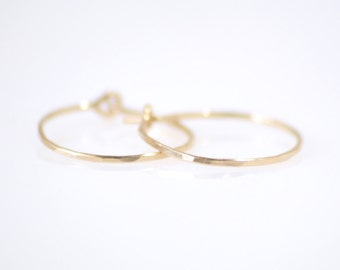 Small gold hoop earrings - hammered gold hoops - tiny gold hoops - delicate gold earrings - gold filled hoop earrings- Sterling silver hoops
