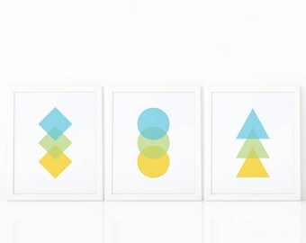 Set of 3 Prints, geometric Wall Art,Printable Art, colorful Print Set,Set of nursery Prints, Geometric Print, Abstract Art, minimalist decor