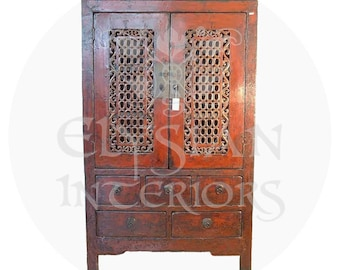 19th Century Rare Asian Fabric Wrapped Red Lacquered Chinese Qing Dynasty  Antique Lattice Armoire Cabinet Circa