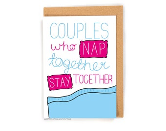 Anniversary card - Valentines day card - Birthday card - funny nap card boyfriend card for him I love you birthday card gift nap together