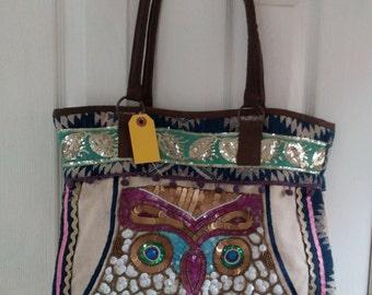 The Pyramid Collection Owl Sequin Beaded Canvas Tote Handbag XL
