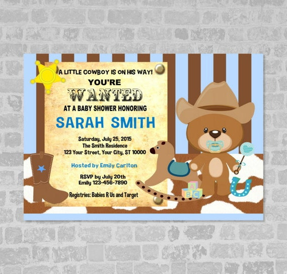 Awesome Cowboy Baby Shower Invitation Western Cowboy Wanted Poster