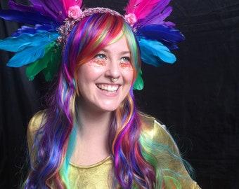Rainbow feather, flower and gem headband headdress - fairylove