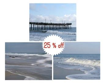 Coastal photography set of 3 piece wall art, nautical decor, coastal prints set 11x14, Virginia Beach pictures, beach ocean bathroom art