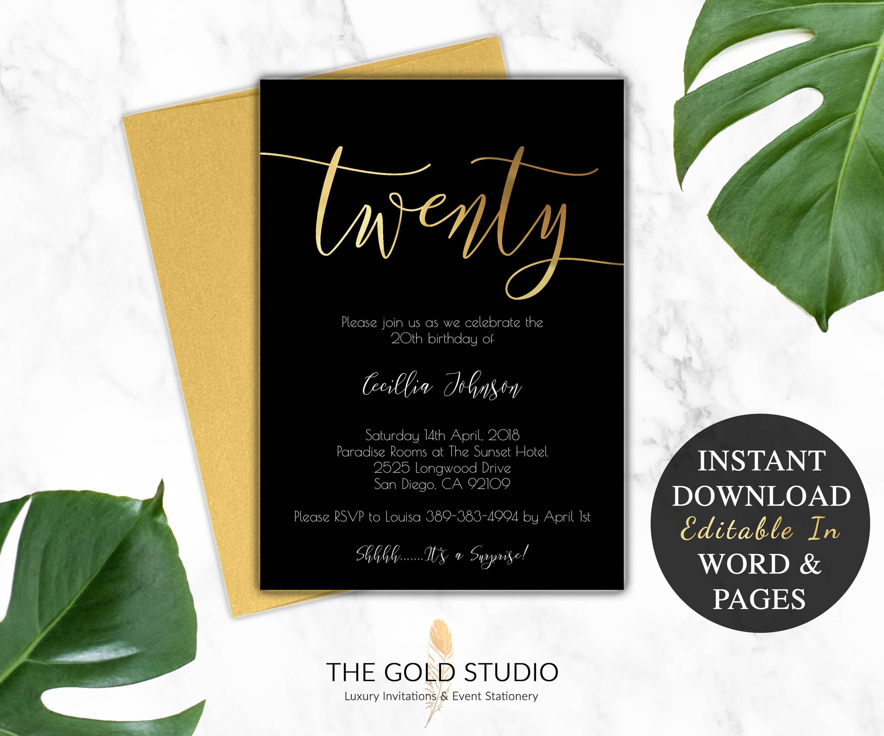 20th birthday invitation instant download birthday invite 20th birthday invitation instant download birthday invite printable gold black birthday invitation editable diy template invitation filmwisefo Images