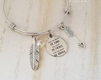 Bohemian Bangle Bracelet-Boho Charm Bracelet-Stainless Steel Bangle-Feather Bracelet-Fierce-Arrow Jewelry-Engraved-Free Spirit Collection-
