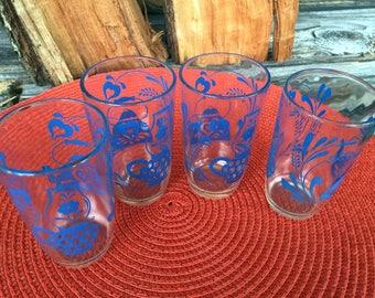 Swanky Swig, Vintage 1950,  Blue Swirl, Juice Glasses, Set of 4, Vintage Kitchen, Home decor, Kitchen and dining