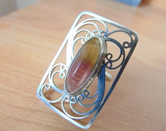 Ring 'Pano'. Price: 87.00 dollars. Tourmaline in silver with filigree