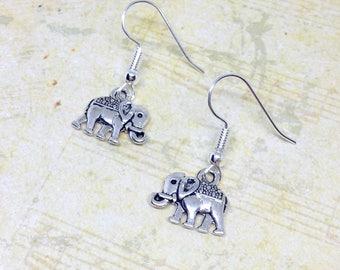 Elephant Earrings, Elephant Jewellery, Little Elephant Earrings, Charm Earrings, Safari Jewellery, Silver Elephant Charms, Dainty Jewellery