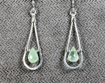 Sterling Silver Prehnite Teardrop Earrings